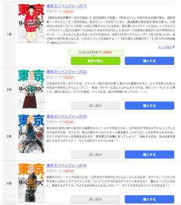 まんが王国の東京卍リベンジャーズの配信ページ一覧。